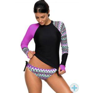 Long Sleeve Tankini Surf Swimsuit Purple